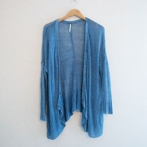 Free People Blue Chunky Knit Cardigan Loose